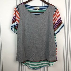 Anthro Porridge Gray Multicolored Stripe Blouse
